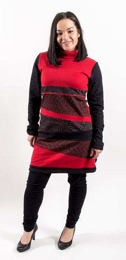 Dámské šaty - tunika ROSSANA WINTER, teplý materiál, ruční práce Nepál NT0048 72B 001 KENAVI