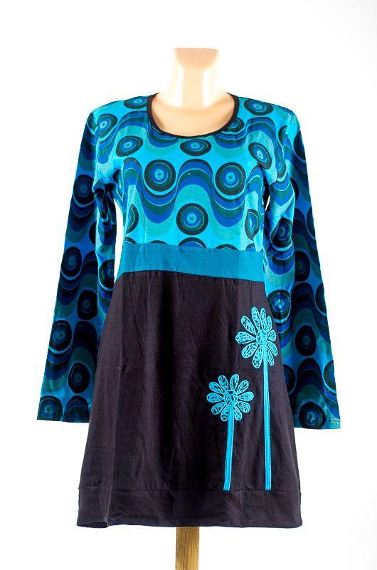 Dámské šaty - tunika WAVE dlouhý rukáv, ruční práce Nepál NT0048 83 002 KENAVI
