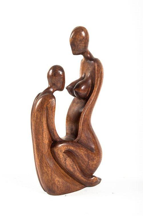 Socha MILENCI abstrakt, dekorace 30 cm, dřevo Indonésie ID0082-019B