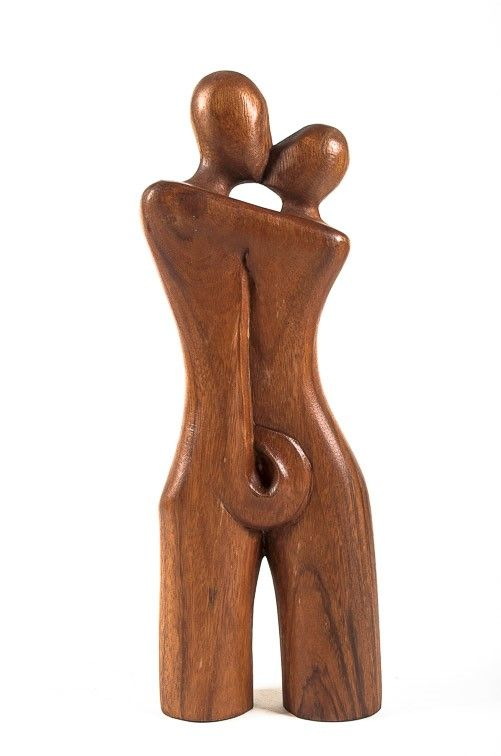 Socha MILENCI abstrakt, dekorace 40 cm, dřevo Indonésie ID1701618B