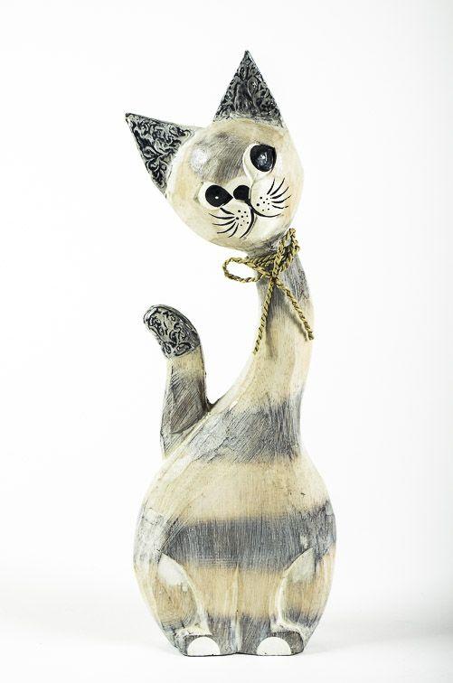 Soška KOČKA 42 cm, albesia Indonésie ID1600405-002
