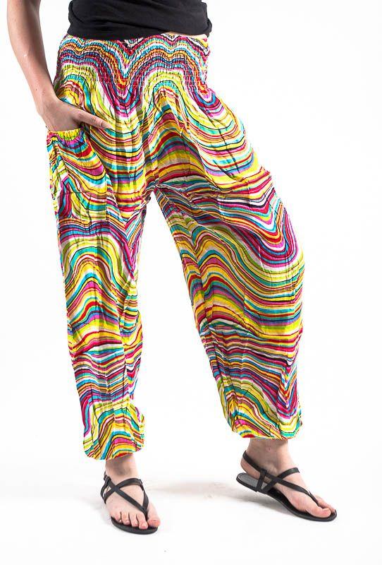 Turecké kalhoty sultánky FLOW viskóza Thajsko TT0043-01-013