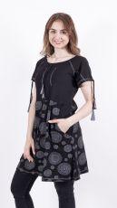Dámské šaty / šatová tunika z Nepálu MANDALA POCKET, 100% bavlna (001)