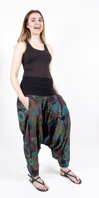 Kalhoty turecké ALIBABA, ruční potisk Nepál NT0096 11 003 KENAVI