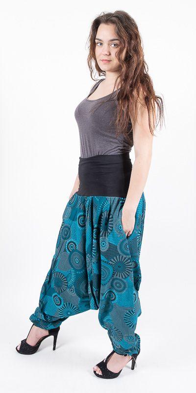 Kalhoty turecké ALIBABA, ruční potisk Nepál NT0096 11 002 KENAVI
