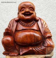 Soška Veselý Buddha (Happy Buddha) 25 cm světlý Indonésie