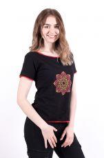 kopie Dámské tričko 100% bavlna, ruční tisk Nepál  NT0100-43-002