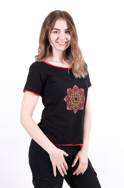 Dámské tričko100% bavlna, ruční tisk Nepál NT0100 43 002 KENAVI