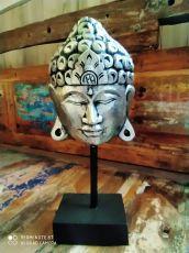Dekorace maska Buddha 35 cm  - stříbrná  ID1701004-02