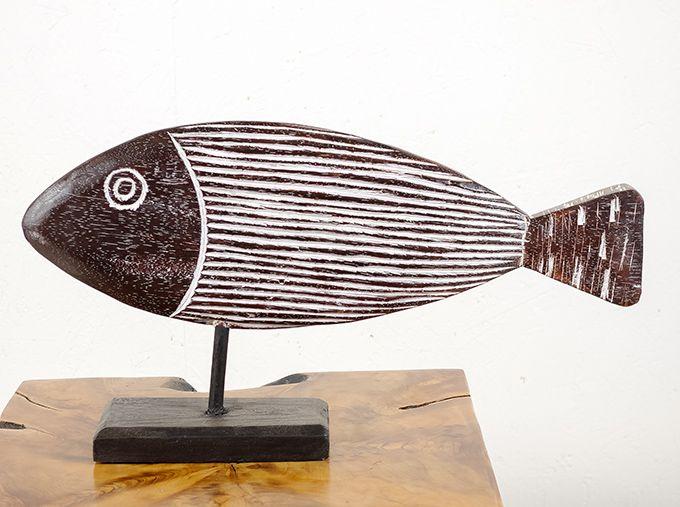 Dekorace ryba velká - s bílou patinou - ID1608202 03B