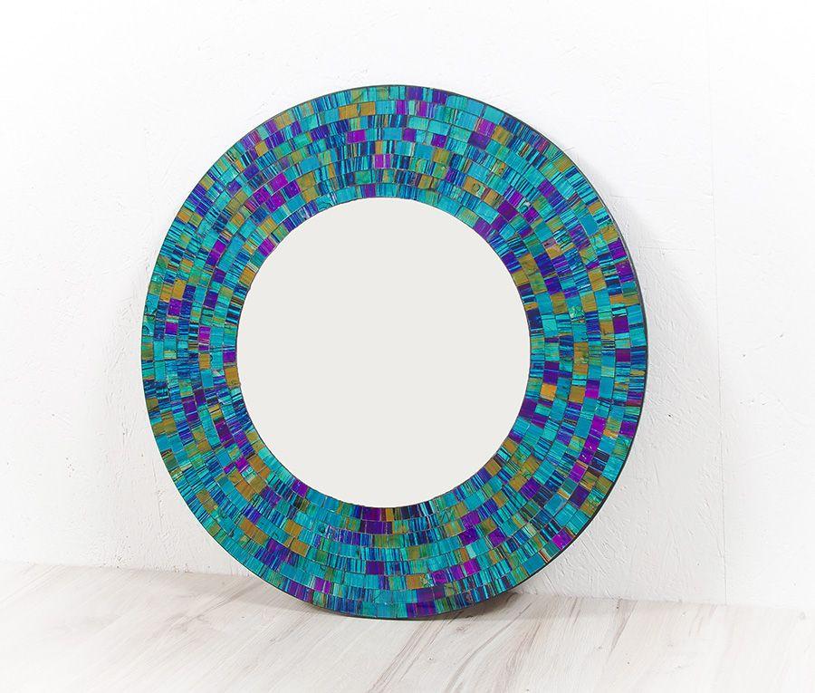 Dekorativní interiérové zrcadlo - skleněná mozaika kulaté 40 cm ID1602006-01