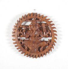 Dřevěná nástěnná dekorace Ganesha  vyřezávaná 25cm ID1600802