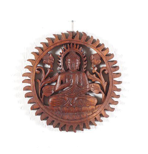 Dřevěná nástěnná dekorace Buddha vyřezávaná 25 cm - ID1600803