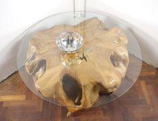 Konferenční stůl z jednoho kusu teakového dřeva se skleněnou deskou - ID1603603-ID1605901