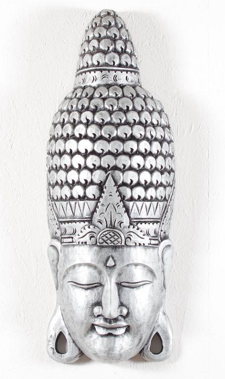 Maska Buddha 80 cm - nástěnná bytová dekorace, dřevořezba Indonésie - ID1605803