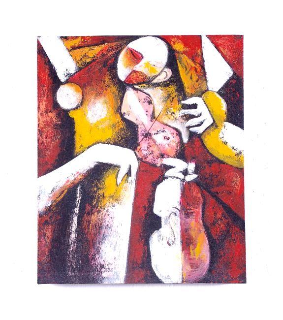 Ručně malovaný obraz na rřevěném rámu 50 x 60 cm ID0106-01