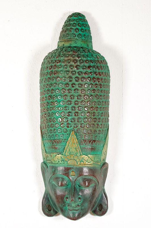 Socha - maska Buddha 100 cm - bytová dekorace, dřevořezba Indonésie - ID1602501
