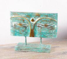 Socha - maska -  Buddha 32 cm -  bytová dekorace, dřevořezba Indonésie  ID1602506-02