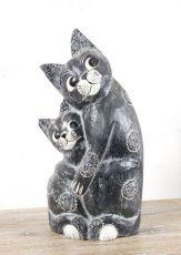 Soška KOČKA S KOTĚTEM 44 cm, Indonésie  ID1604004-01