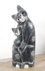Soška KOČKA S KOTĚTEM 62 cm, Indonésie  ID1604004-02