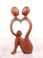 Soška Milenci 40 cm abstrakt dřevo suar Indonésie  ID1605102