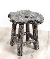 Stolička NATUR teakové dřevo, bílá patina, ruční kusová výroba  ID1609206-02