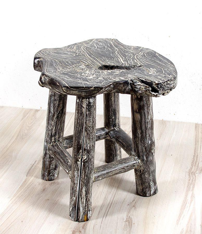 Stolička NATUR teakové dřevo, bílá patina, ruční kusová výroba - ID1609206-02