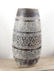 Váza kokosová palma s řezbou 80 cm prům. 40 cm,  Indonésie ID1608705