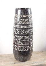 Váza kokosová palma s řezbou 75 cm,  Indonésie ID1608706