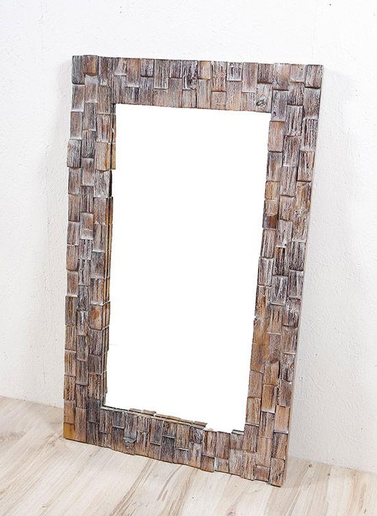 Zrcadlo s dřevěným vyřezávaným rámem 100 x 60 cm, ruční práce - ID1601702