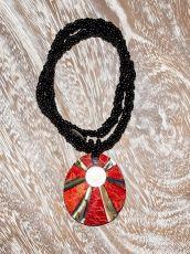 Náhrdelník perličkový - provázkový -  s přívěškem  IS0001-042