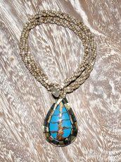 Náhrdelník perličkový - provázkový -  s přívěškem  IS0001-043