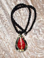 Náhrdelník perličkový - provázkový -  s přívěškem  IS0001-045