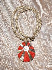 Náhrdelník perličkový - provázkový -  s přívěškem  IS0001-046