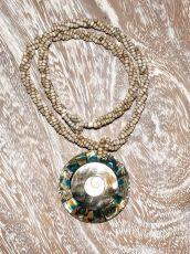 Náhrdelník perličkový - provázkový -  s přívěškem  IS0001-048