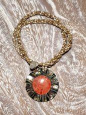 Náhrdelník perličkový - provázkový -  s přívěškem  IS0001-052