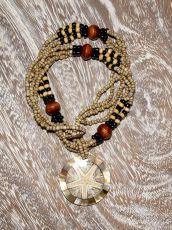 Náhrdelník perličkový - provázkový -  s přívěškem  IS0001-054