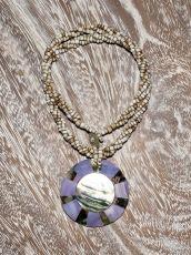 Náhrdelník perličkový - provázkový -  s přívěškem  IS0001-058