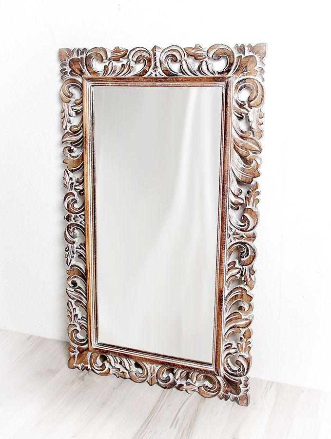 Zrcadlo s dřevěným vyřezávaným rámem 100 x 60 cm, ruční práce - ID1601702B