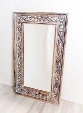 Zrcadlo s dřevěným vyřezávaným rámem 100 x 60 cm, ruční práce  ID1601702A