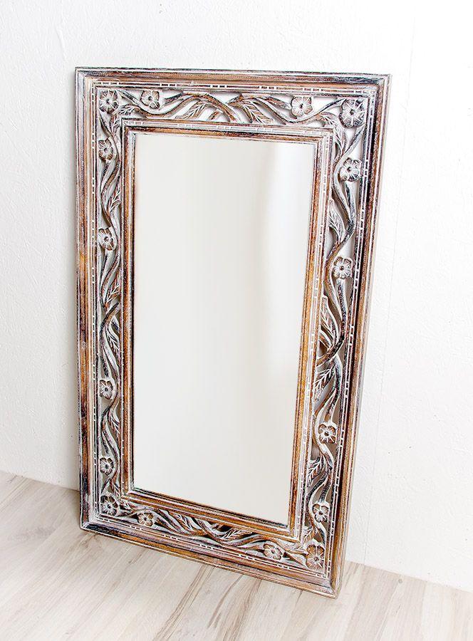 Zrcadlo s dřevěným vyřezávaným rámem 100 x 60 cm, ruční práce - ID1601702A