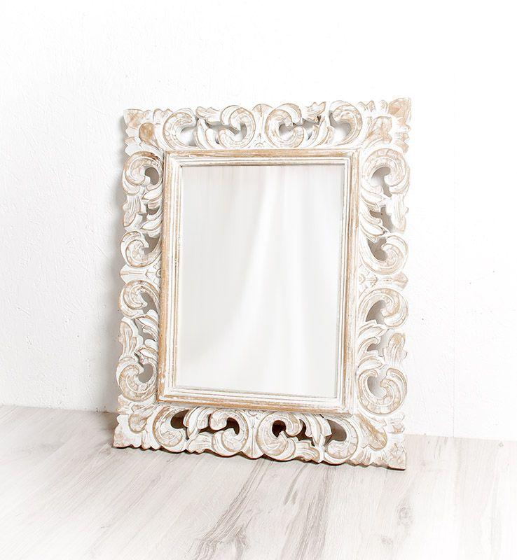Zrcadlo s rámem z recyklovaného dřeva 108 x 78 cm, ruční práce - ID1601704