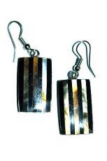 Ocelové náušnice vykládané peletí