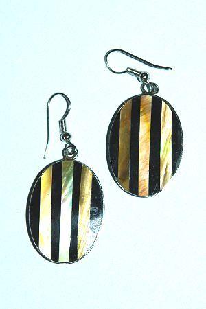 Ocelové náušnice vykládané perletí IS0018 003