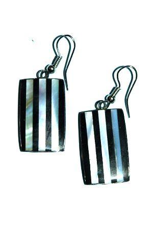 Ocelové náušnice vykládané perletí IS0018 005
