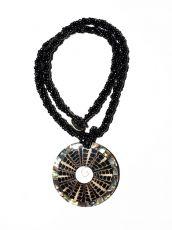 Náhrdelník perličkový - provázkový -  s přívěškem  IS0001-087
