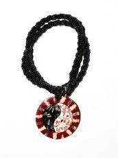 Náhrdelník perličkový - provázkový -  s přívěškem  IS0001-092