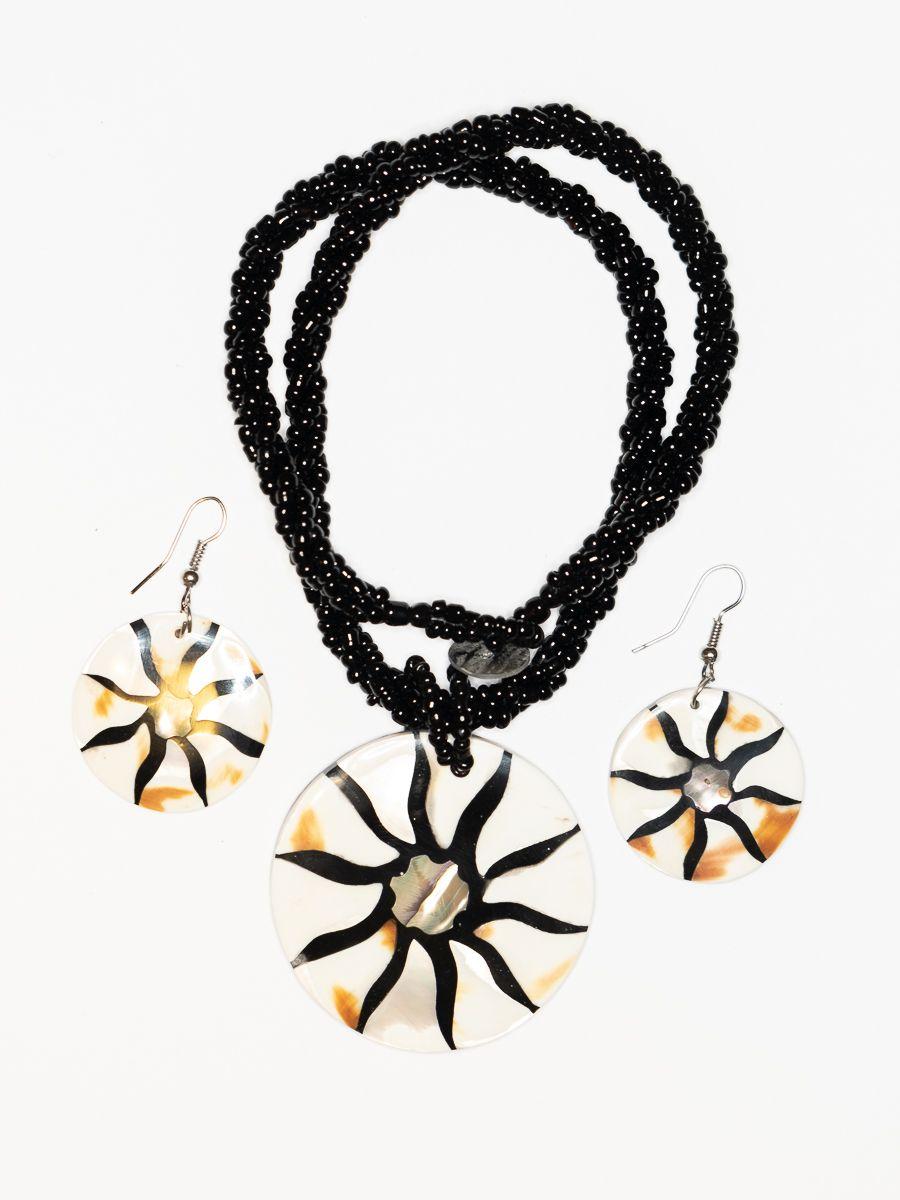 Sada perličkový náhrdelník a náušnice z perleti a resinu - ID1609102-021