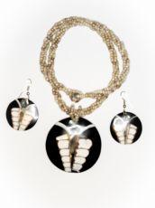 Sada perličkový náhrdelník a náušnice z perleti a resinu  ID1609102-022