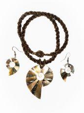 Sada perličkový náhrdelník a náušnice z perleti a resinu  ID1609102-024